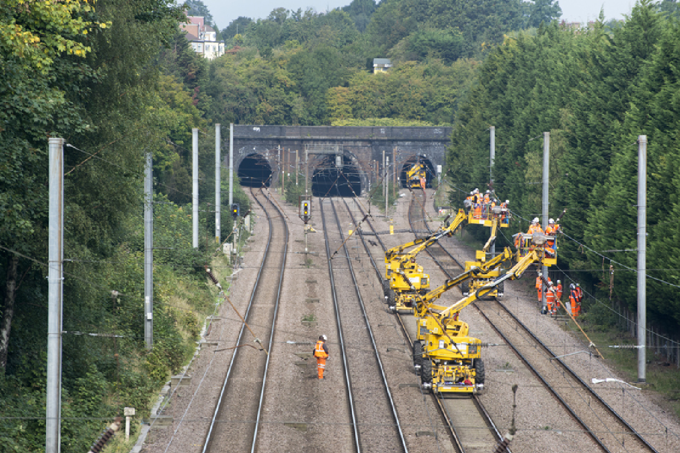 OLE renewal worksite in the UK - Railway Electrification